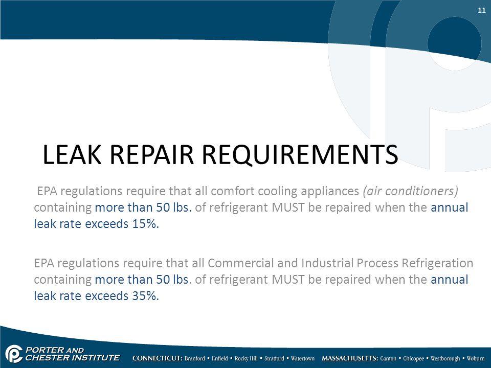 LEAK REPAIR REQUIREMENTS