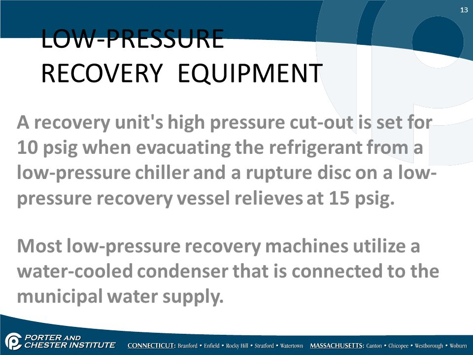 LOW-PRESSURE RECOVERY EQUIPMENT