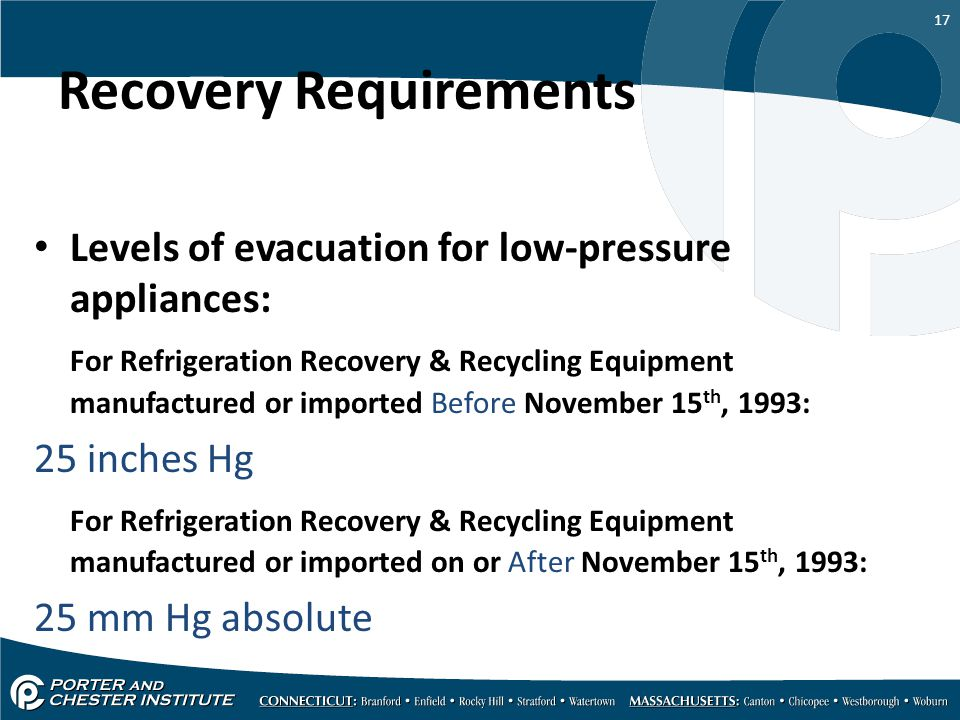 Recovery Requirements
