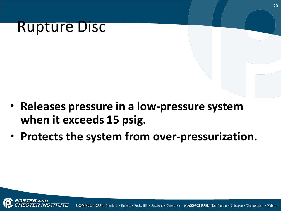 Rupture Disc Releases pressure in a low-pressure system when it exceeds 15 psig.