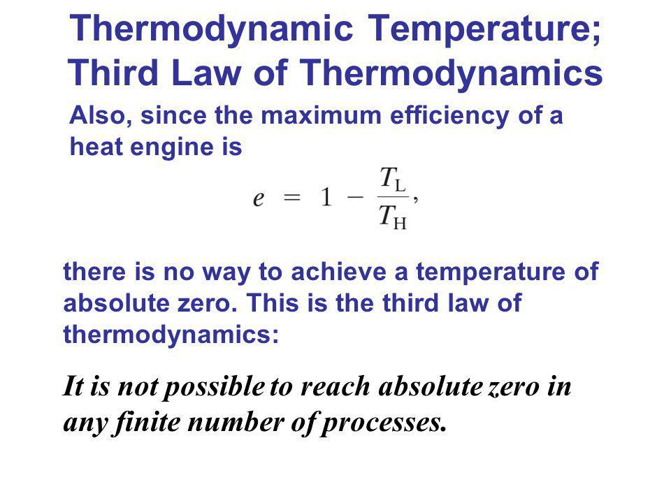 Thermodynamic Temperature; Third Law of Thermodynamics