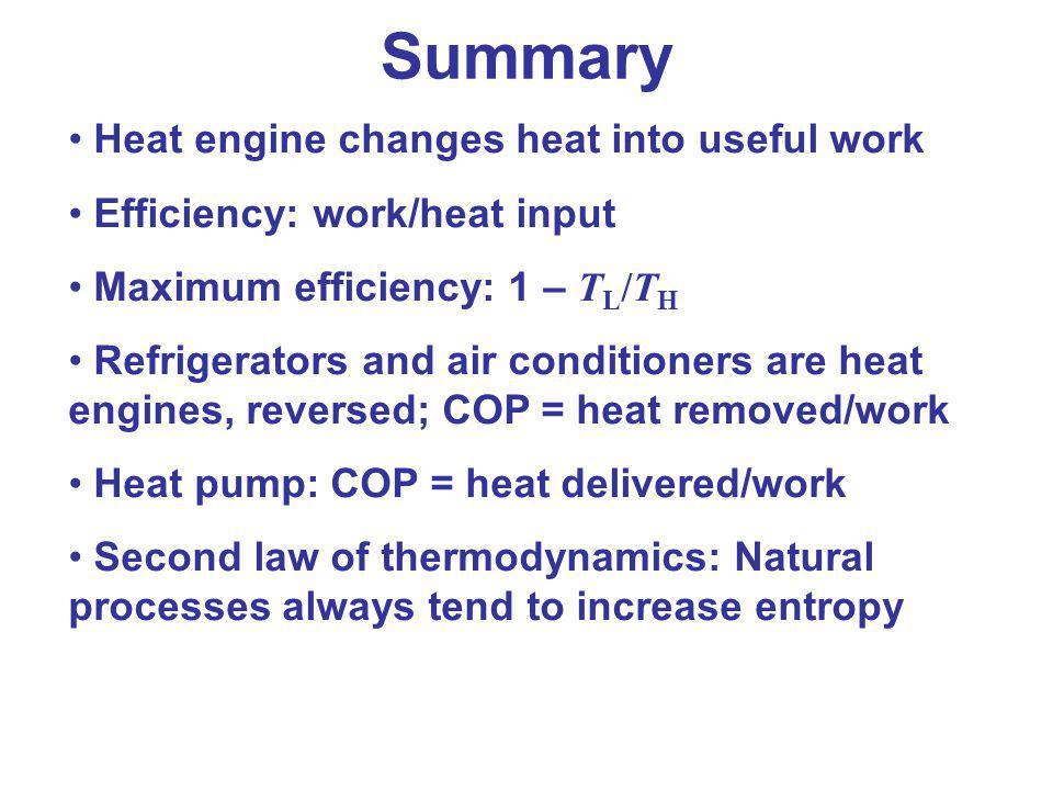 Summary Heat engine changes heat into useful work