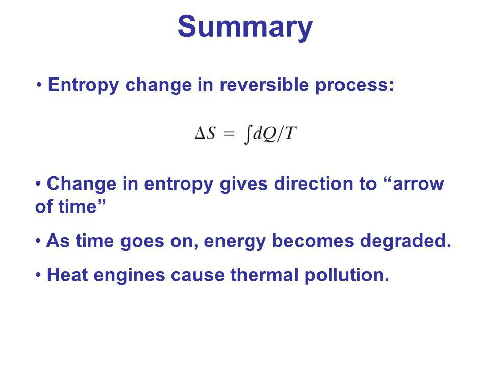 Summary Entropy change in reversible process: