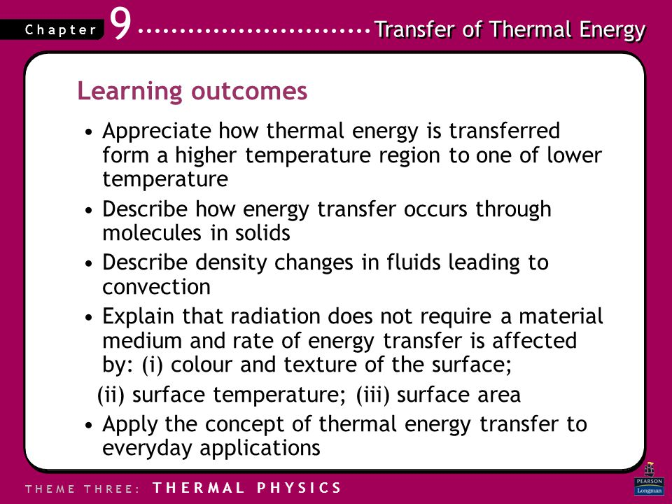 Learning outcomes Appreciate how thermal energy is transferred form a higher temperature region to one of lower temperature.