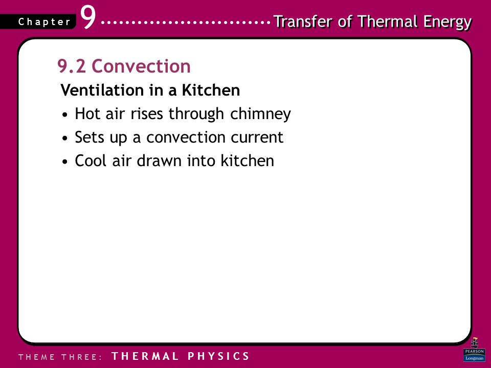 9.2 Convection Ventilation in a Kitchen Hot air rises through chimney