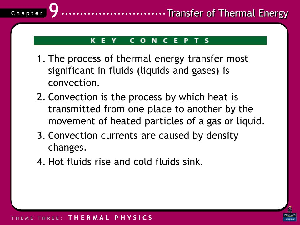 The process of thermal energy transfer most significant in fluids (liquids and gases) is convection.