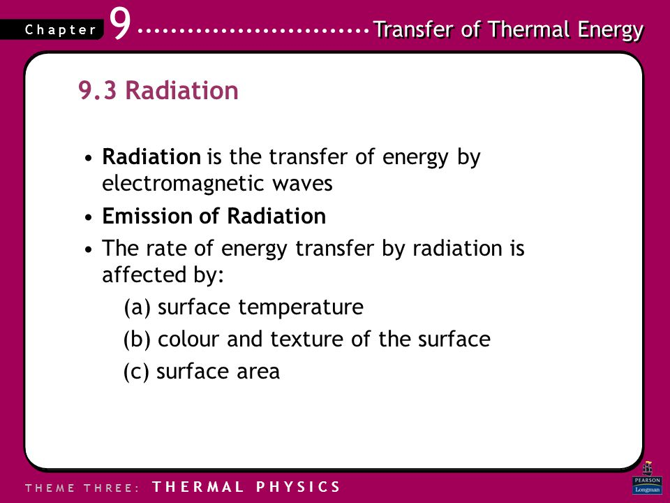 9.3 Radiation Radiation is the transfer of energy by electromagnetic waves. Emission of Radiation.