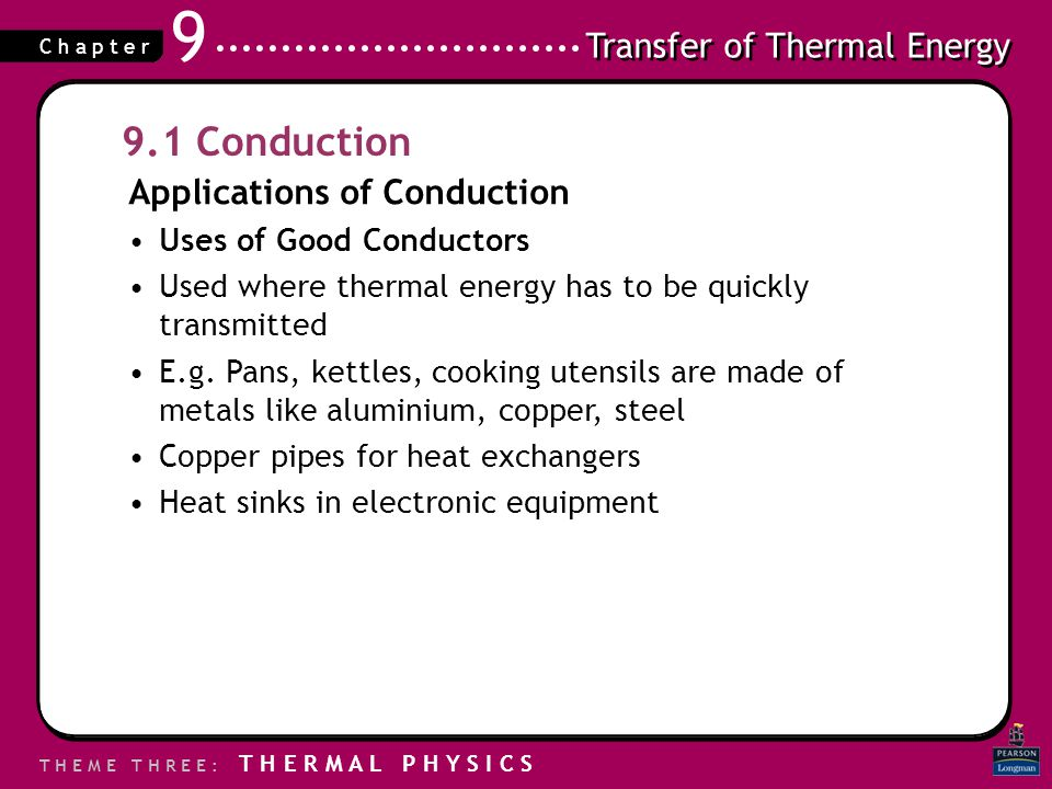 9.1 Conduction Applications of Conduction Uses of Good Conductors