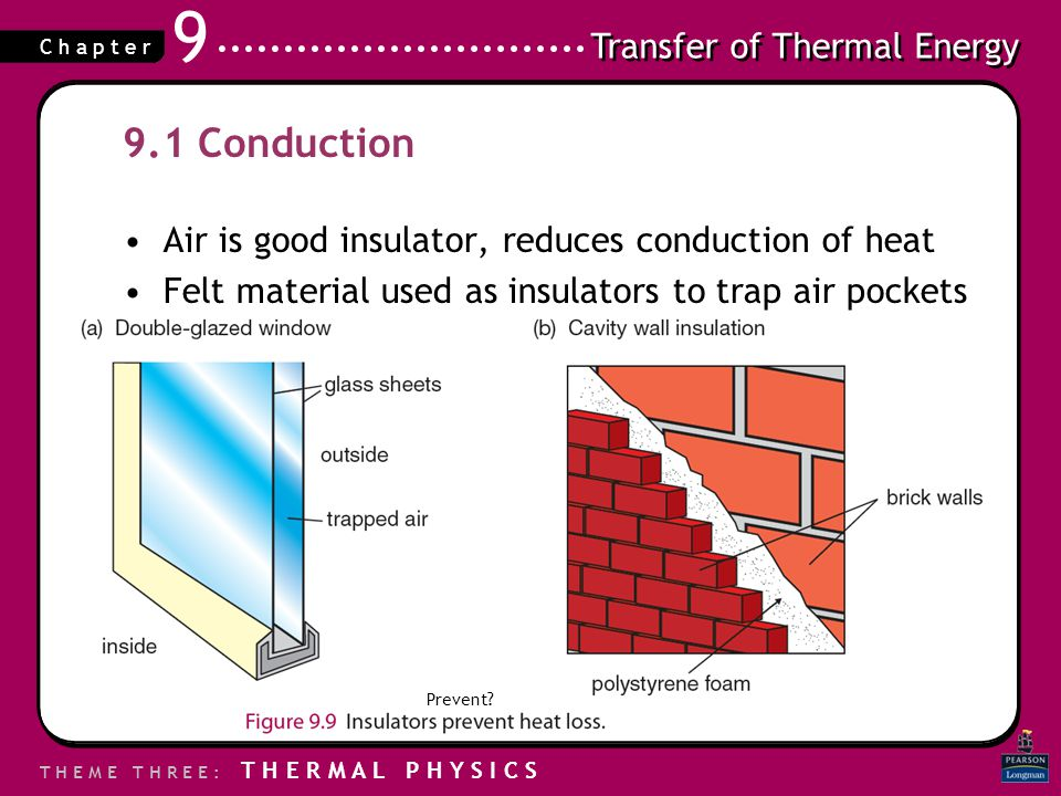 9.1 Conduction Air is good insulator, reduces conduction of heat