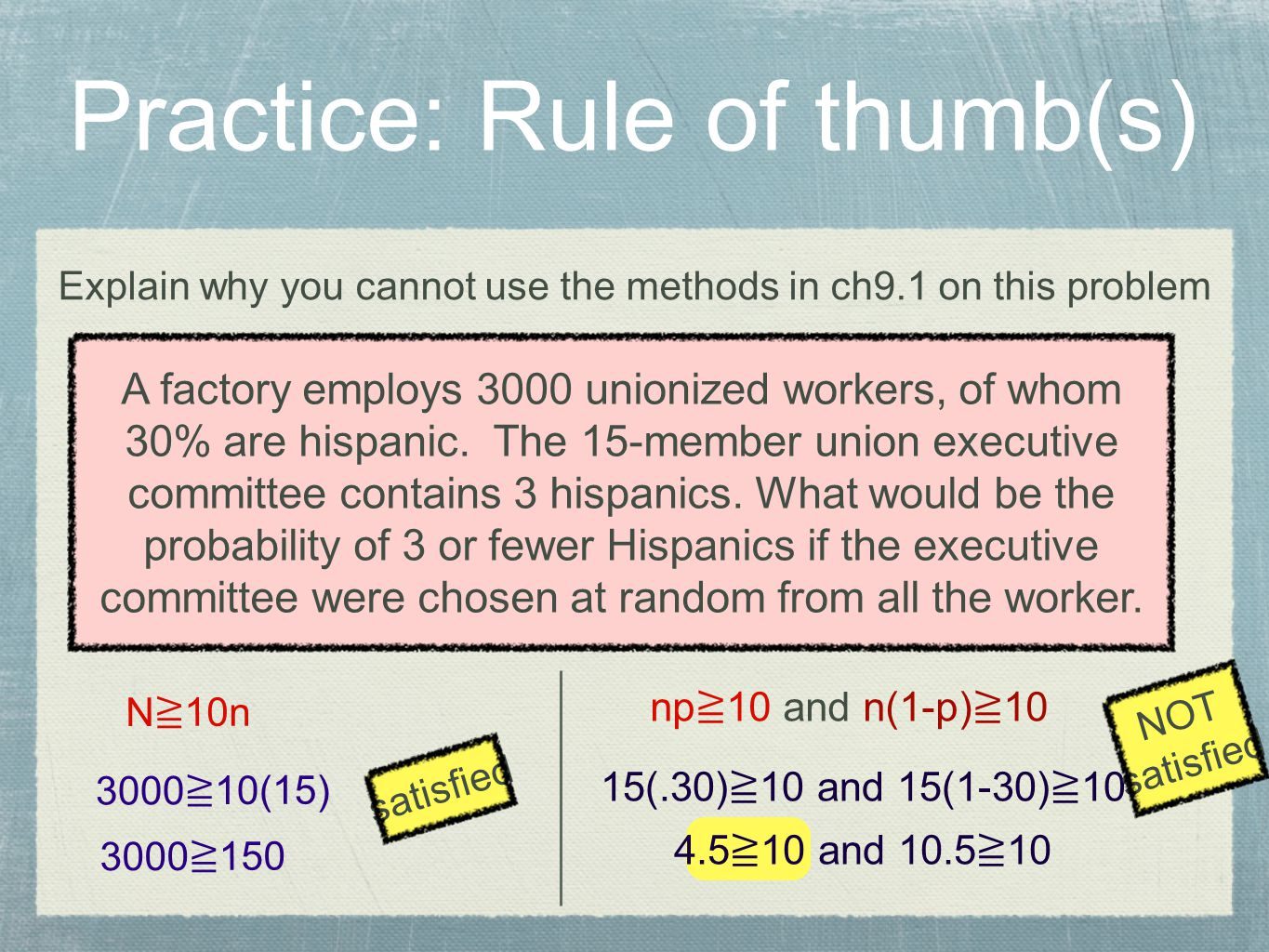 Practice: Rule of thumb(s)