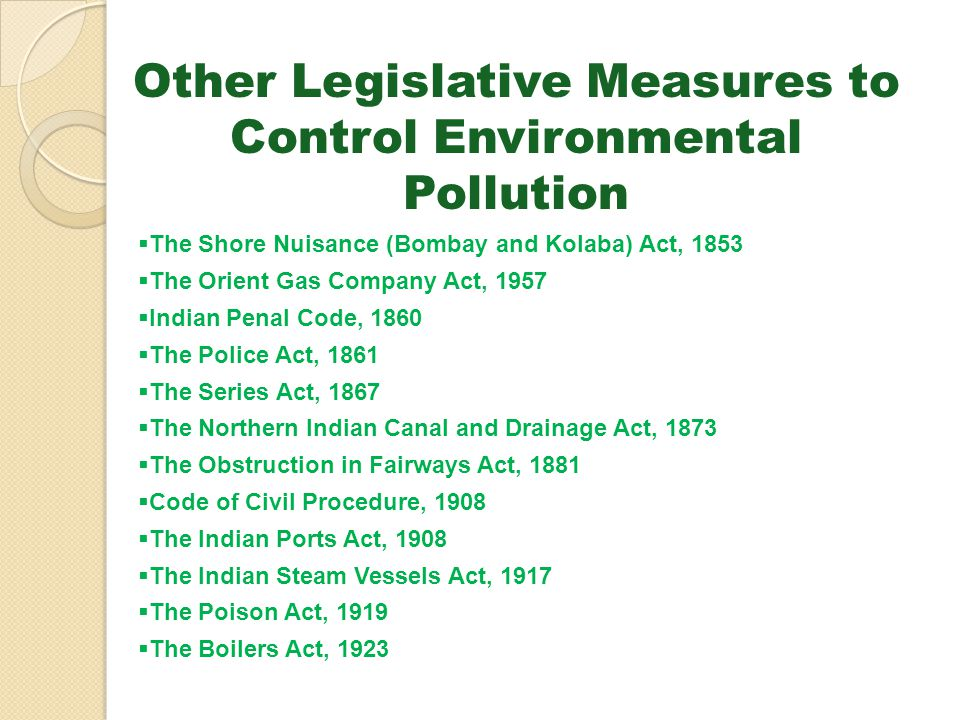 Other Legislative Measures to Control Environmental Pollution