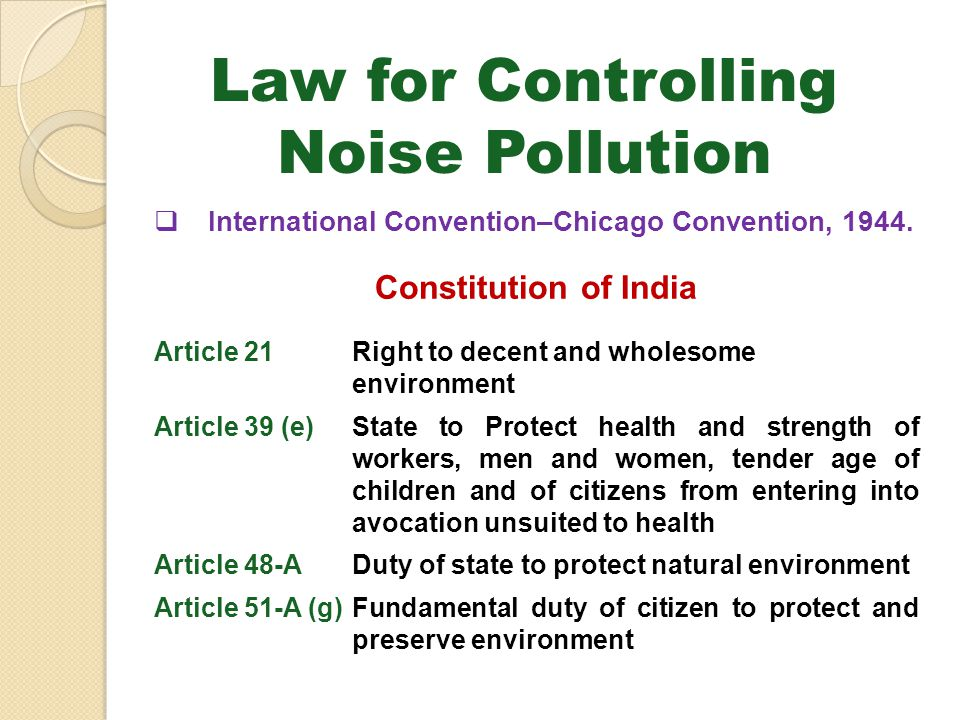 Law for Controlling Noise Pollution