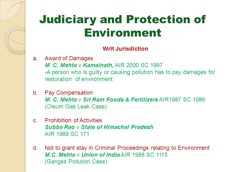 Judiciary and Protection of Environment