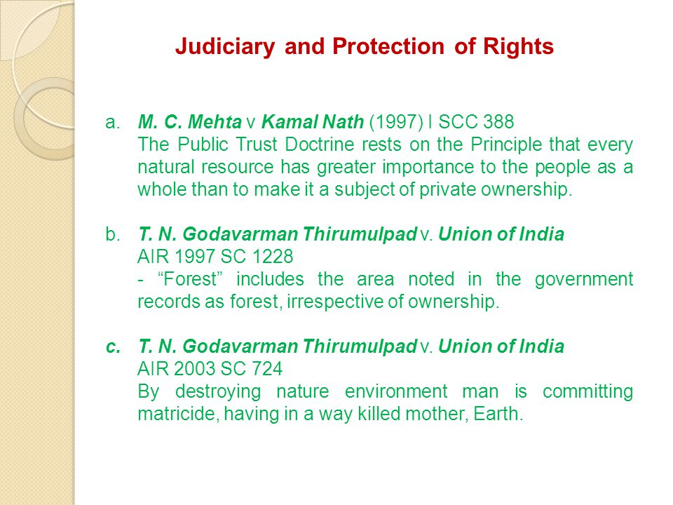 Judiciary and Protection of Rights