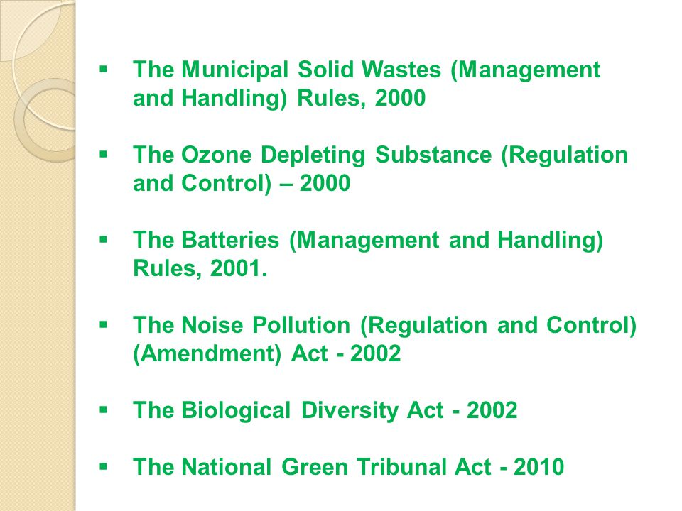 The Municipal Solid Wastes (Management and Handling) Rules, 2000