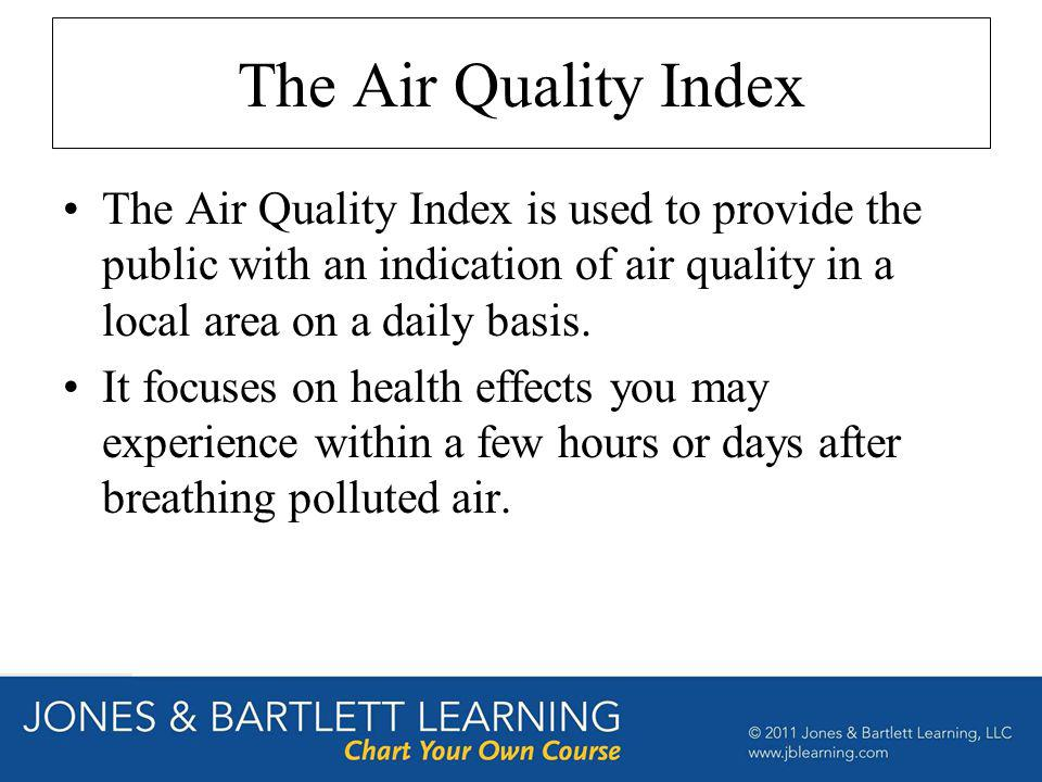 The Air Quality Index The Air Quality Index is used to provide the public with an indication of air quality in a local area on a daily basis.