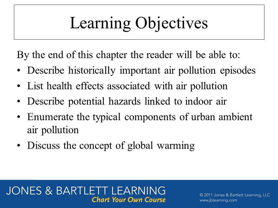 Learning Objectives By the end of this chapter the reader will be able to: Describe historically important air pollution episodes.