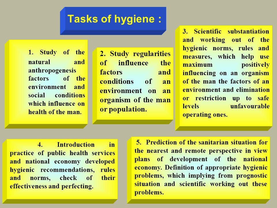 Tasks of hygiene :