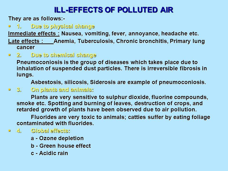 ILL-EFFECTS OF POLLUTED AIR