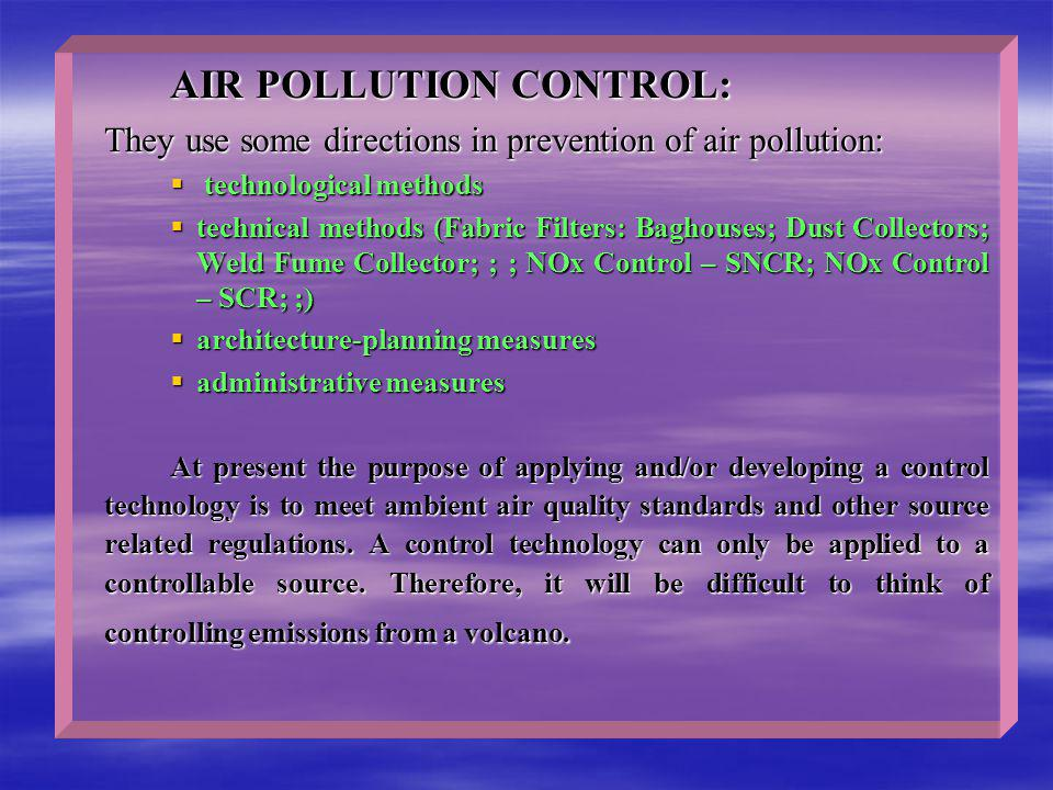 AIR POLLUTION CONTROL: