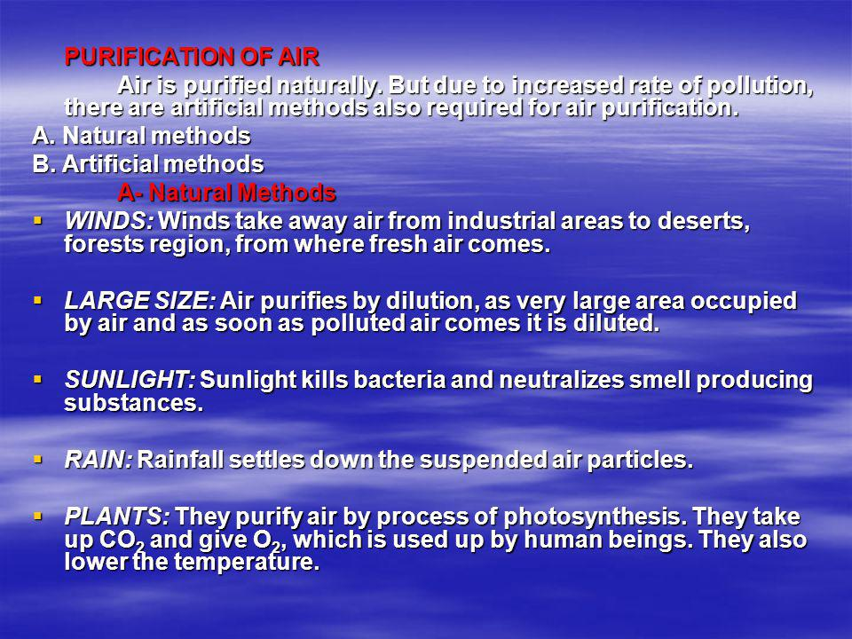 PURIFICATION OF AIR