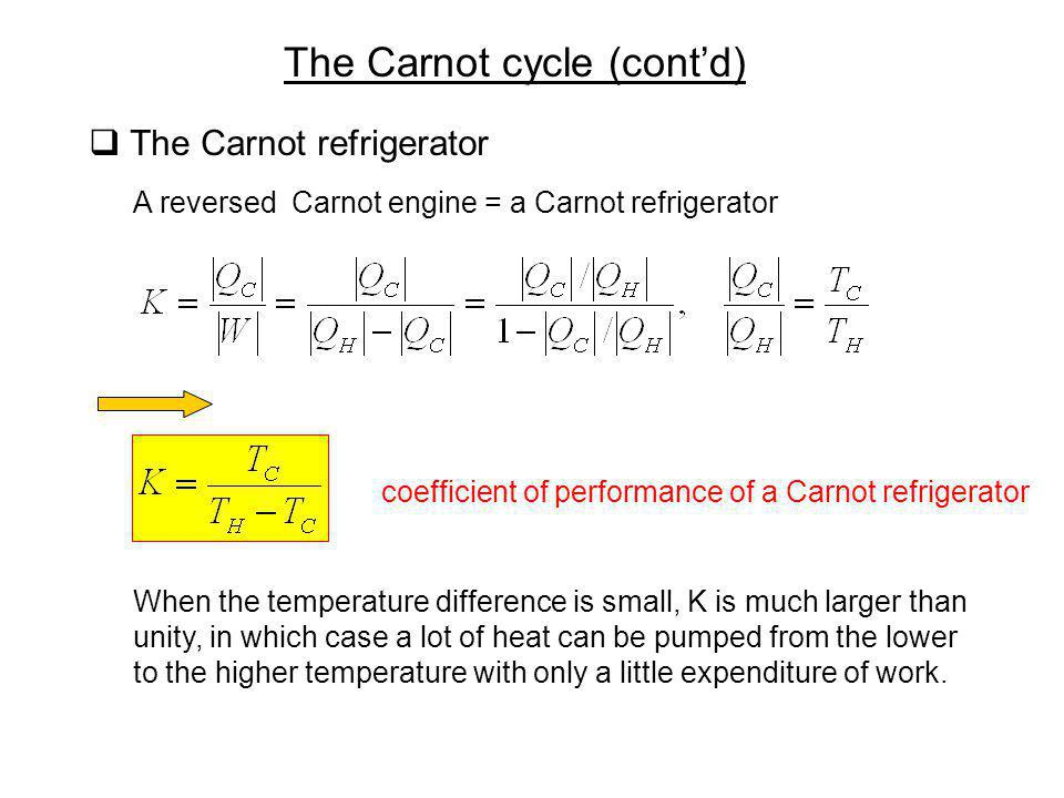 The Carnot cycle (cont'd)