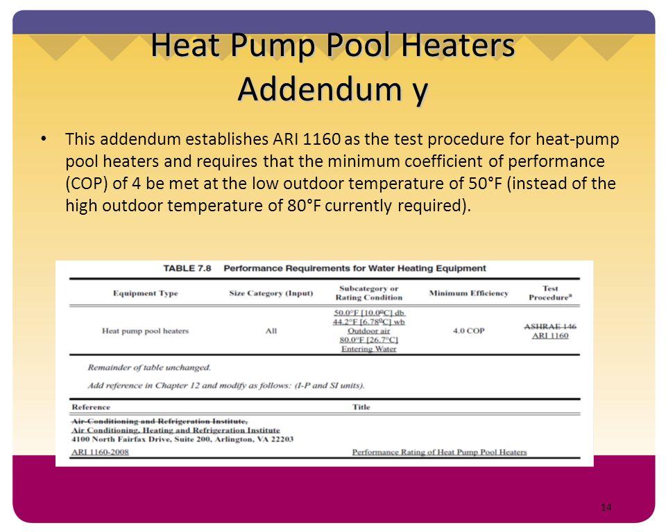 Heat Pump Pool Heaters Addendum y