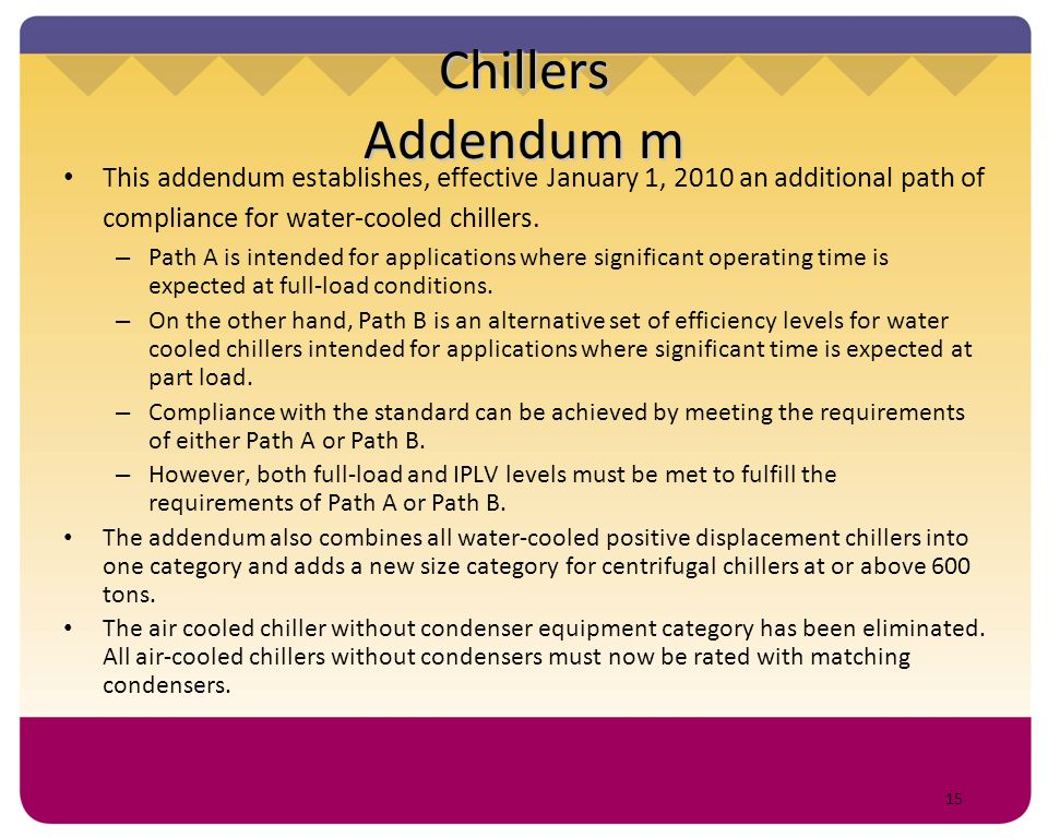 Chillers Addendum m This addendum establishes, effective January 1, 2010 an additional path of compliance for water-cooled chillers.