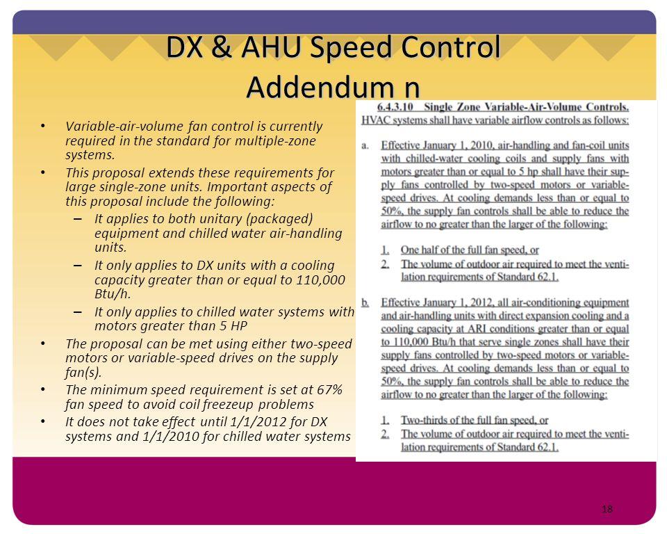 DX & AHU Speed Control Addendum n