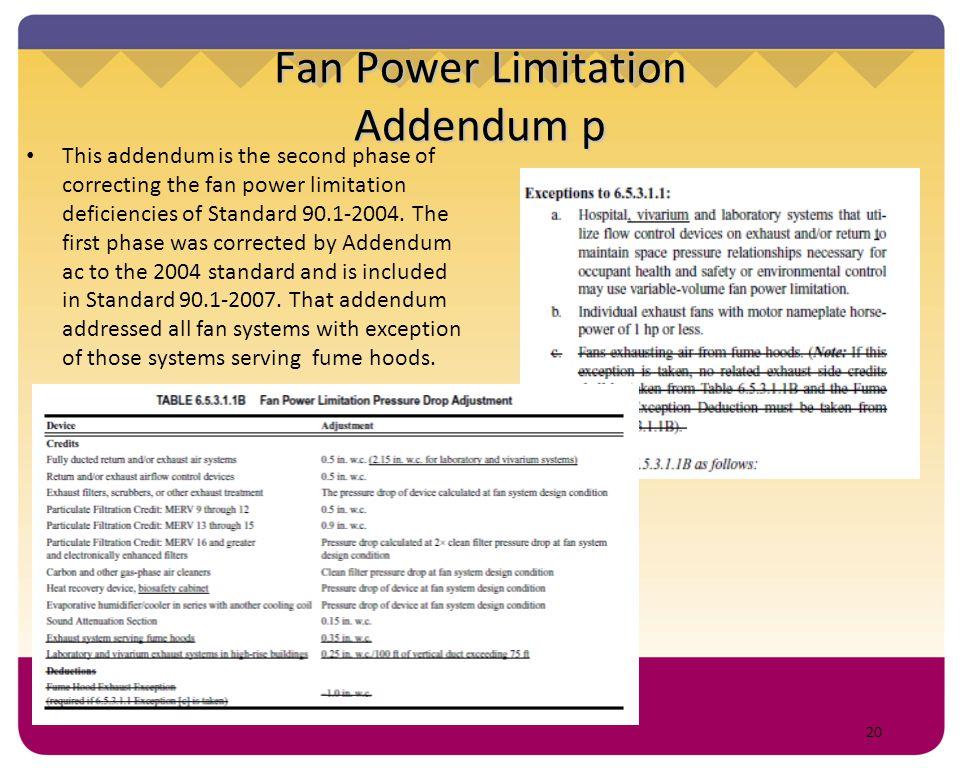 Fan Power Limitation Addendum p