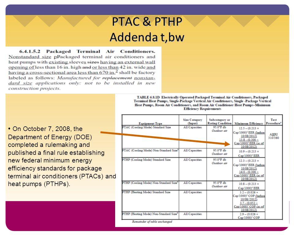 PTAC & PTHP Addenda t,bw