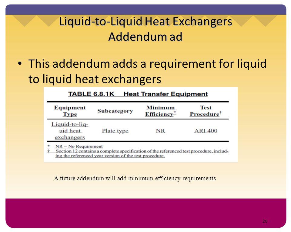 Liquid-to-Liquid Heat Exchangers Addendum ad