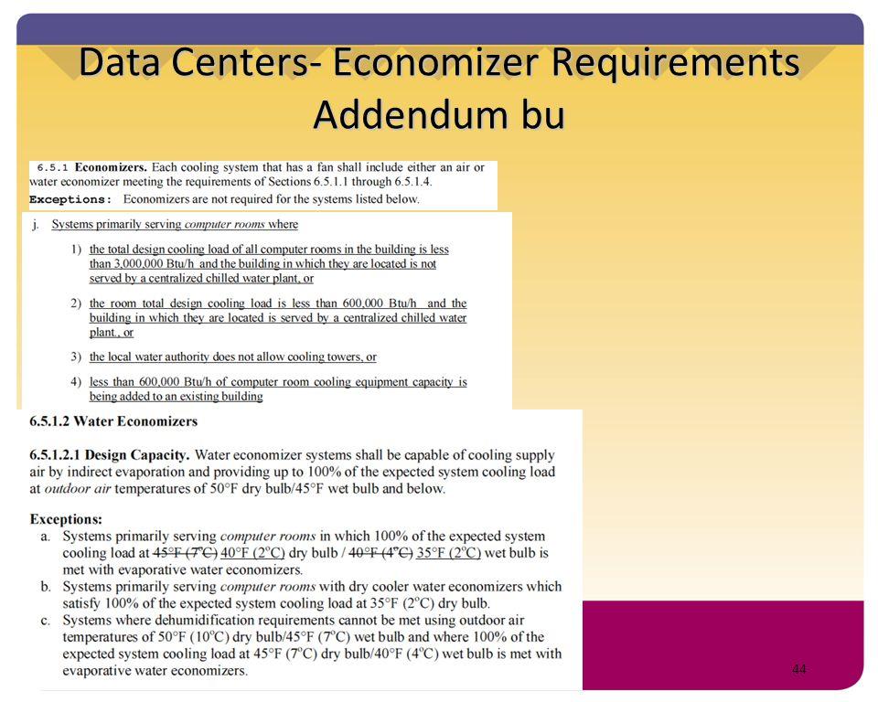 Data Centers- Economizer Requirements Addendum bu