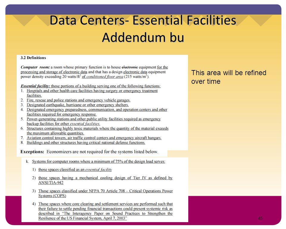 Data Centers- Essential Facilities Addendum bu