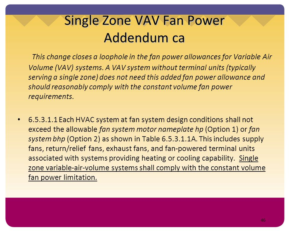 Single Zone VAV Fan Power Addendum ca