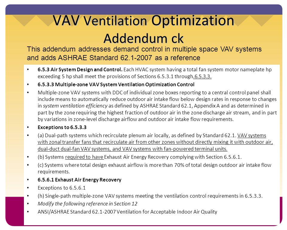 VAV Ventilation Optimization Addendum ck