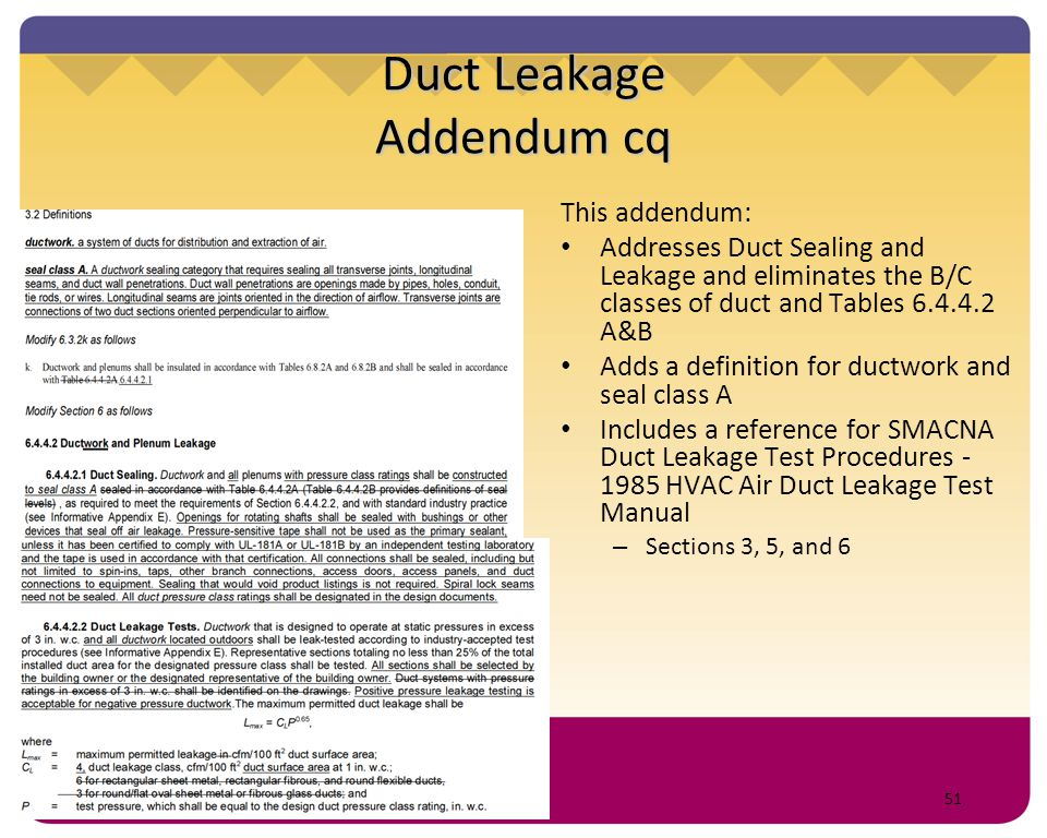 Duct Leakage Addendum cq