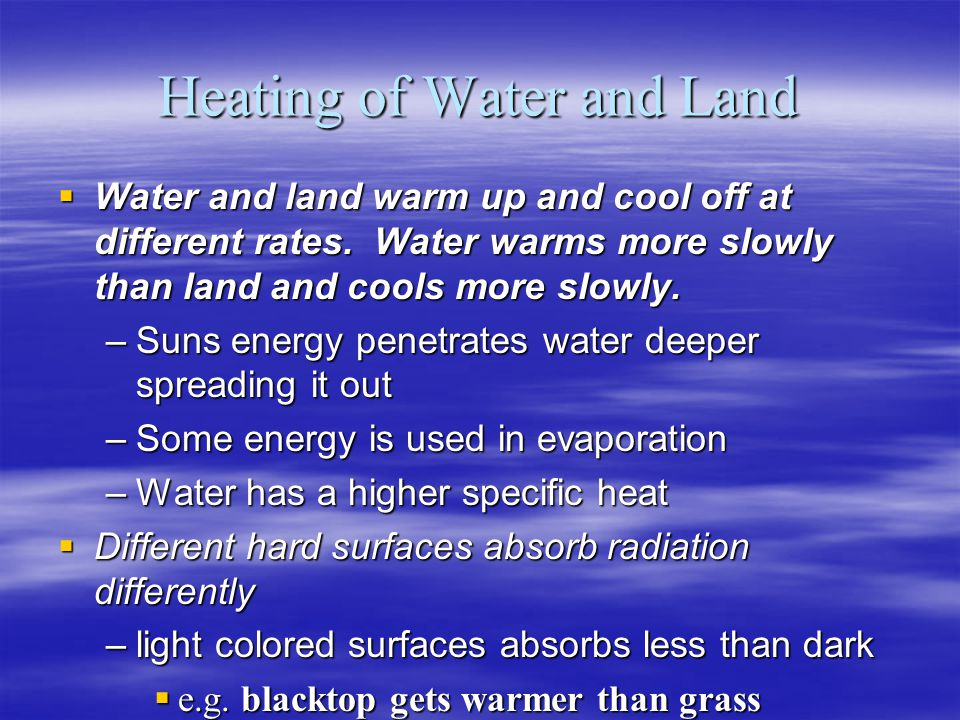 Heating of Water and Land