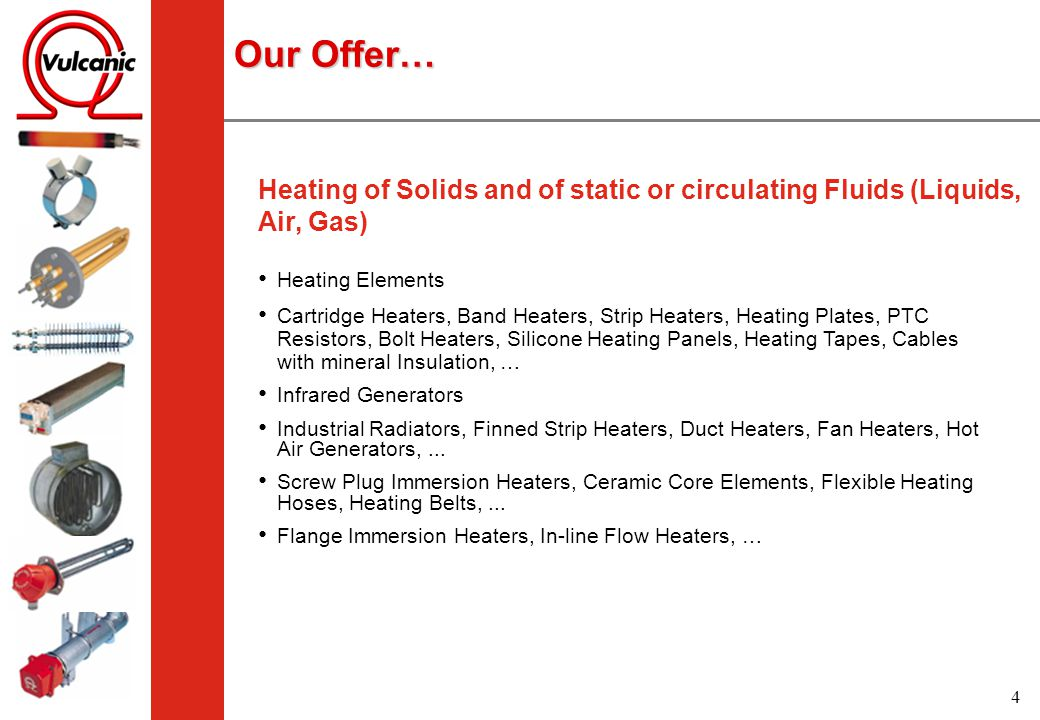 Our Offer… Heating of Solids and of static or circulating Fluids (Liquids, Air, Gas) Heating Elements.