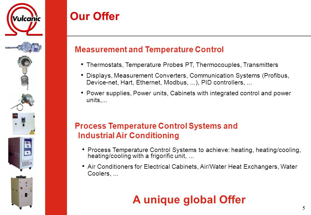 Our Offer A unique global Offer Measurement and Temperature Control