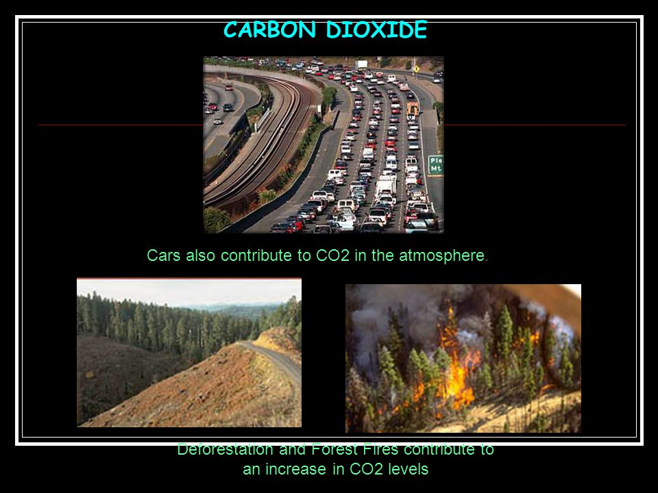 CARBON DIOXIDE Cars also contribute to CO2 in the atmosphere.