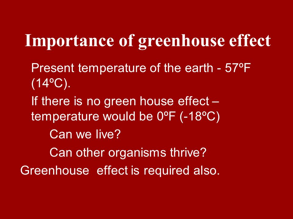 Importance of greenhouse effect