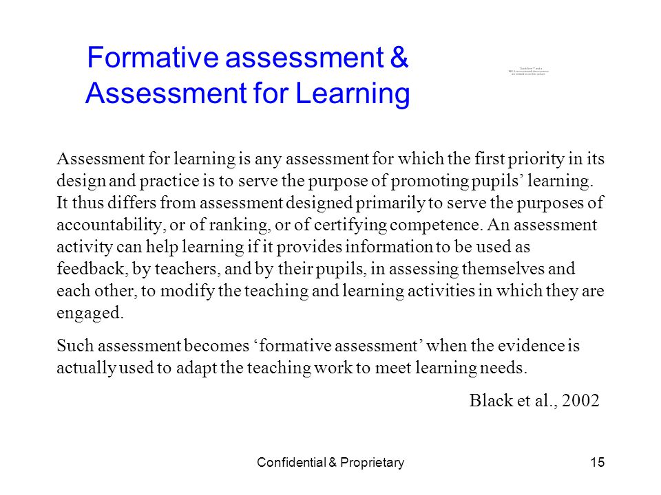 Formative assessment & Assessment for Learning