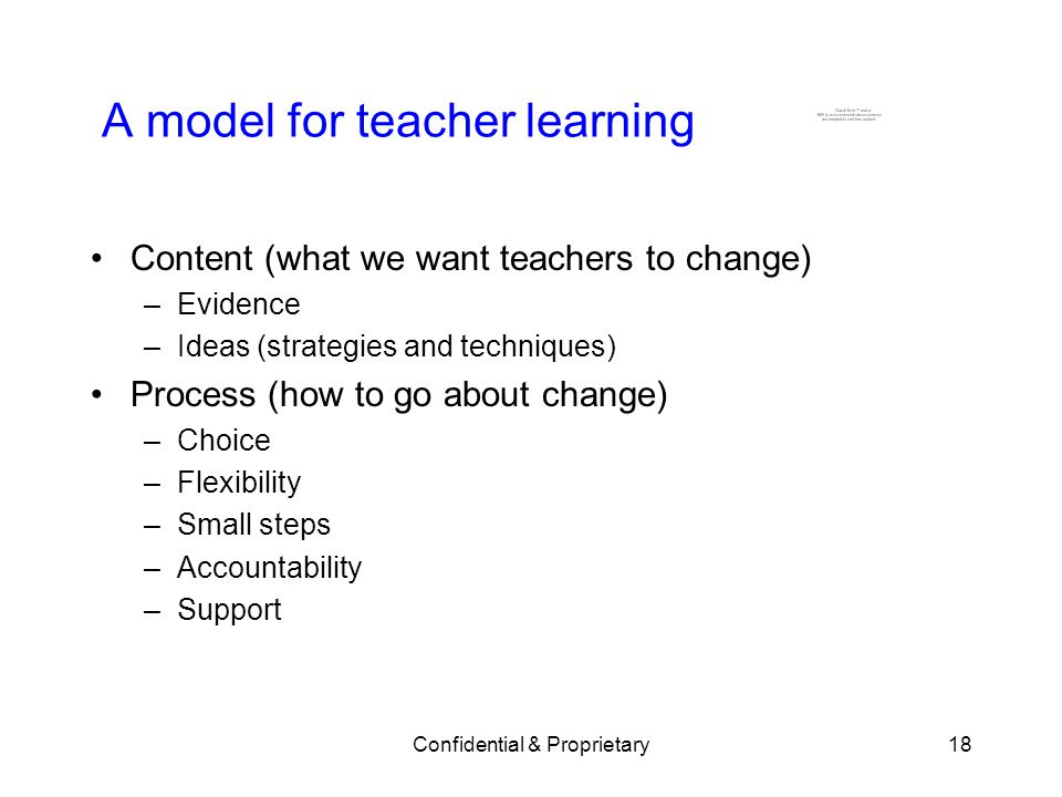 A model for teacher learning