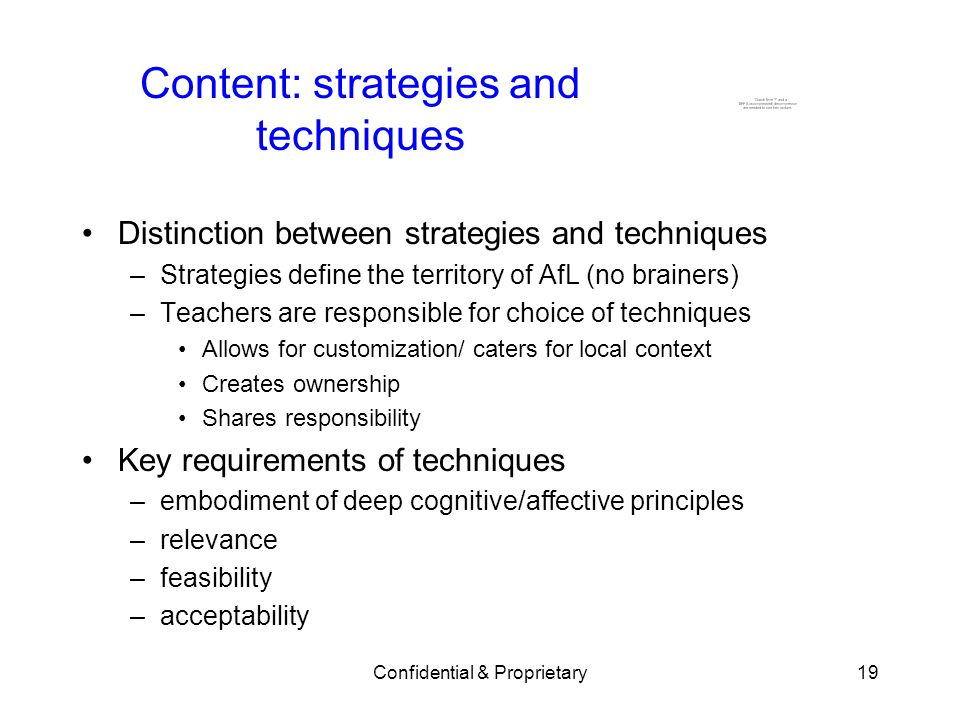 Content: strategies and techniques