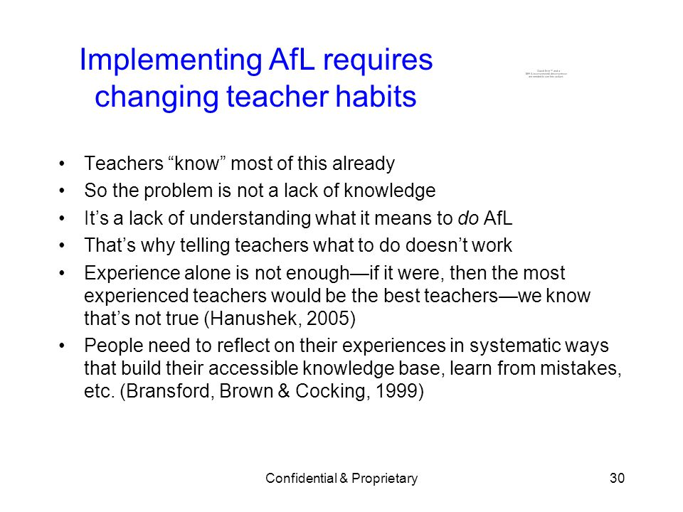 Implementing AfL requires changing teacher habits