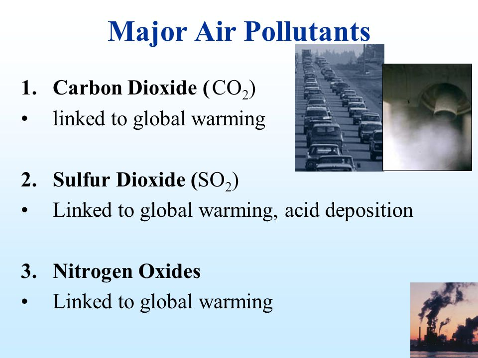 Major Air Pollutants Carbon Dioxide ( CO2) linked to global warming