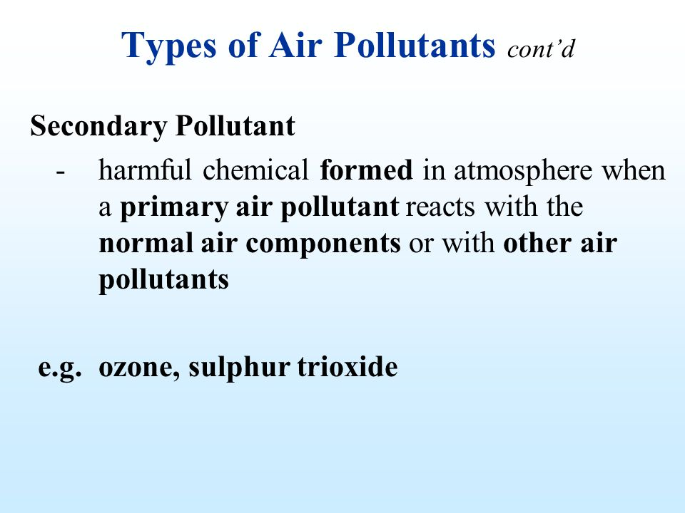 Types of Air Pollutants cont'd