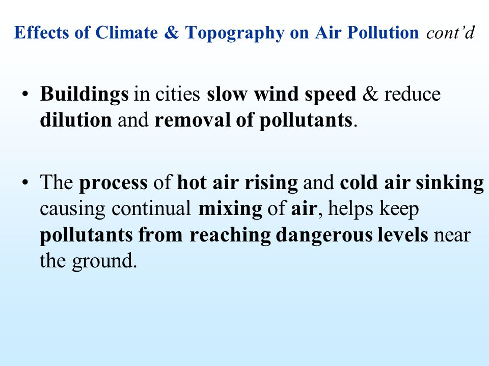 Effects of Climate & Topography on Air Pollution cont'd