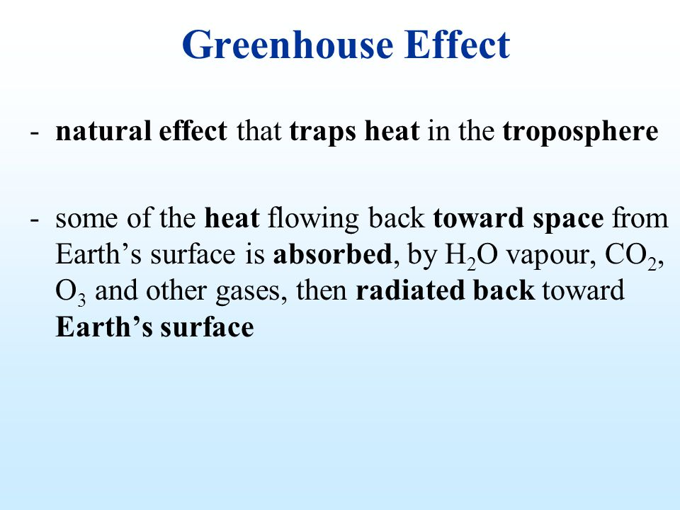 Greenhouse Effect natural effect that traps heat in the troposphere